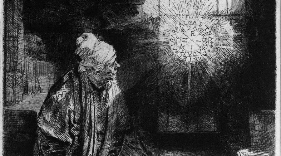 """Faust zaprodá svou duši ďáblu, čímž získá přístup k ezoterickým znalostem. Detail z obrazu """"Faust"""" (asi 1652) od Rembrandta. Rijksmuseum, Amsterdam, Nizozemsko. (Volné dílo)"""
