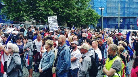 """Praha: Demonstrace proti zavedení covidových pasů a""""zákonu apartheidu"""""""