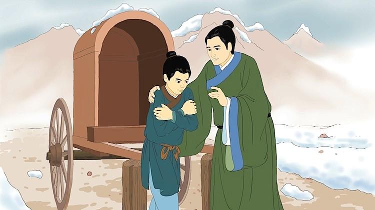 Min Te-žen mluví se synem, jenž se celý třese zimou. (Č'-čching Čchen/The Epoch Times)