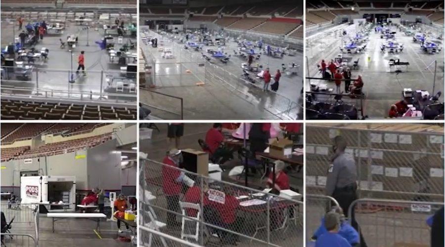 Záběry na průběh volebního auditu ve státě Arizona. (Screenshot záběru průmyslových kamer / Wide Angle)