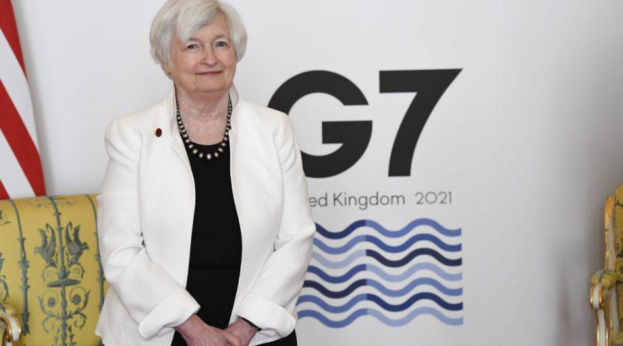Americká ministryně financí Janet Yellenová se účastní zasedání ministrů financí zemí G7 v Lancaster House v Londýně, 5. června 2021. (Alberto Pezzali / WPA Pool / Getty Images)